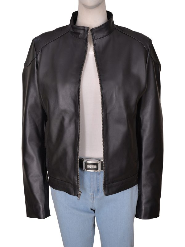 simple women black leather jacket, simple black leather jacket for women,