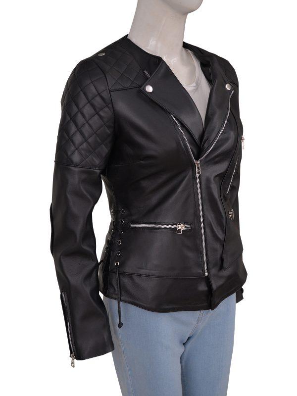 trendy women biker leather jacket, stylish women biker leather jacket,