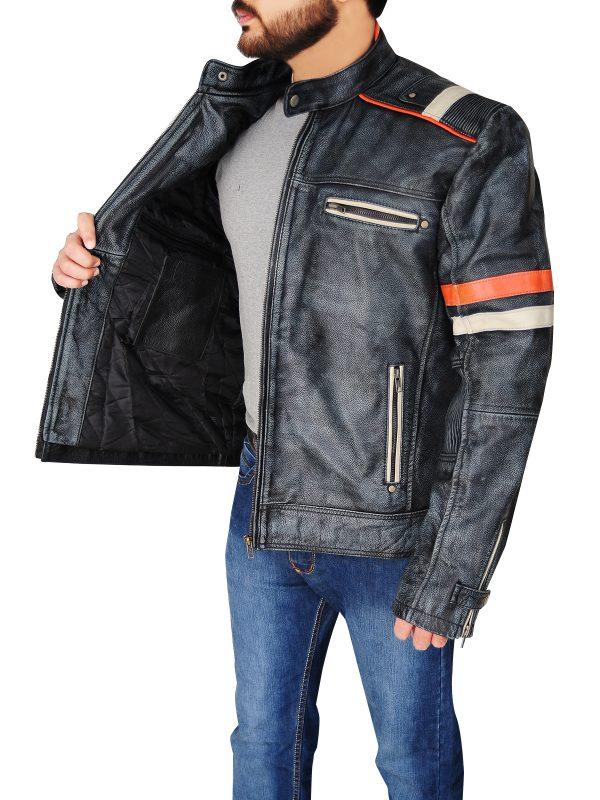 men stylish cafe racer leather jacket, street style cafe racer leather jacket,
