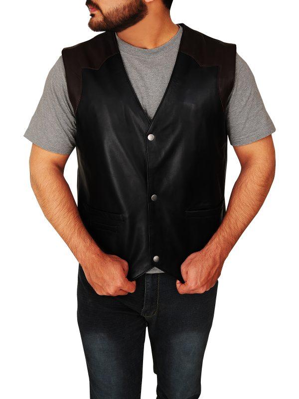 Cowboy style leather vest, Stylish cowboy leather vest,