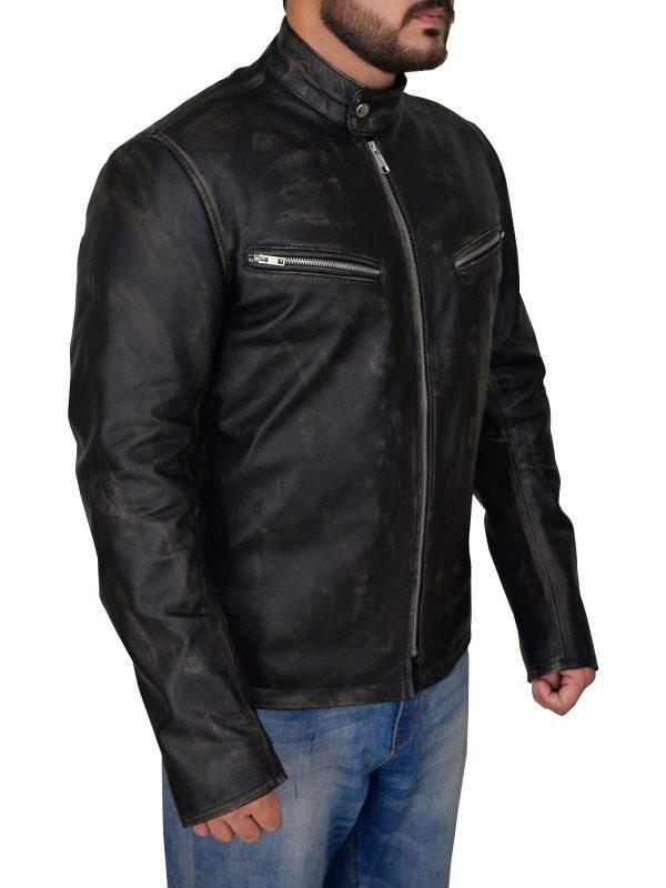 sleek cafe racer leather jacket, streamlined cafe racer leather jacket,