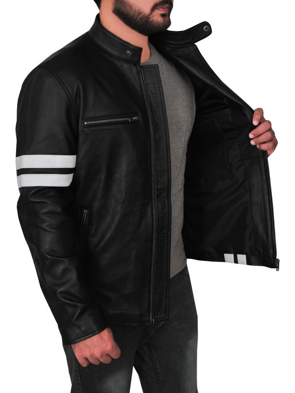 john tanner driver leather jacket, black driver leather jacket,