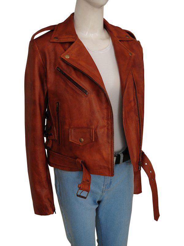 street fashion motorcycle leather jacket, street style brown biker leather jacket,