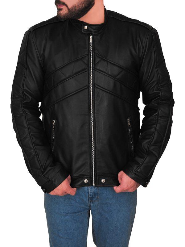 trending black leather jacket for men, men's stylish black leather jacket,