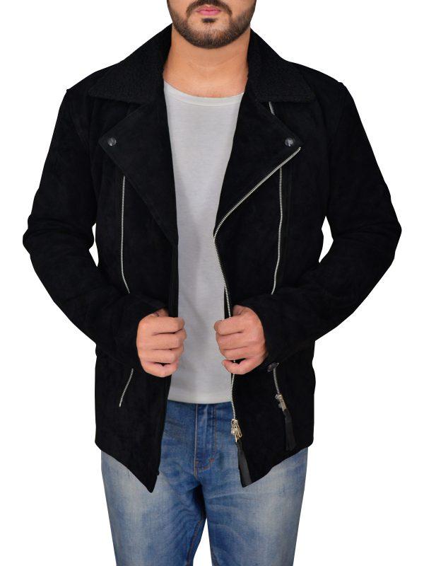trending black suede leather jacket, dashing black suede leather jacket,