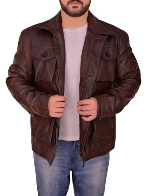 dashing brown men leather jacket, attractive brown leather jacket,