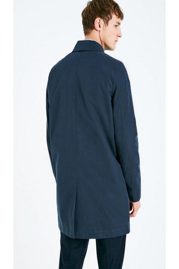 men navy blue cotton coat
