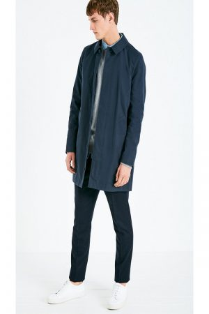 trending men blue cotton coat