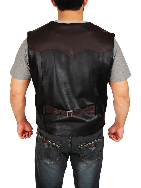 black and brown cowboy leather vest, mauvetree men cowboy leather vest,