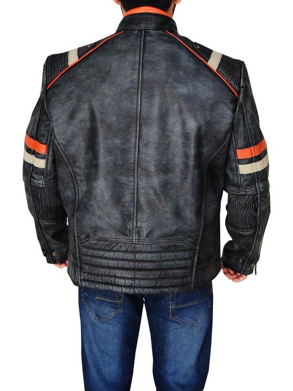 mauvetree retro cafe racer leather jacket, mauvetree distressed cafe racer leather jacket,