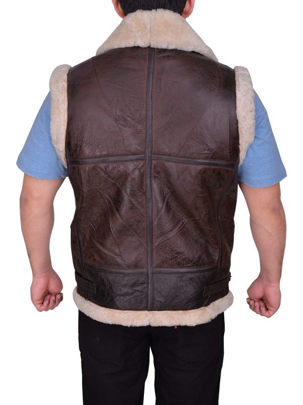 mauvetree brown sheepskin leather vest, mauvetree shearling leather vest for men,