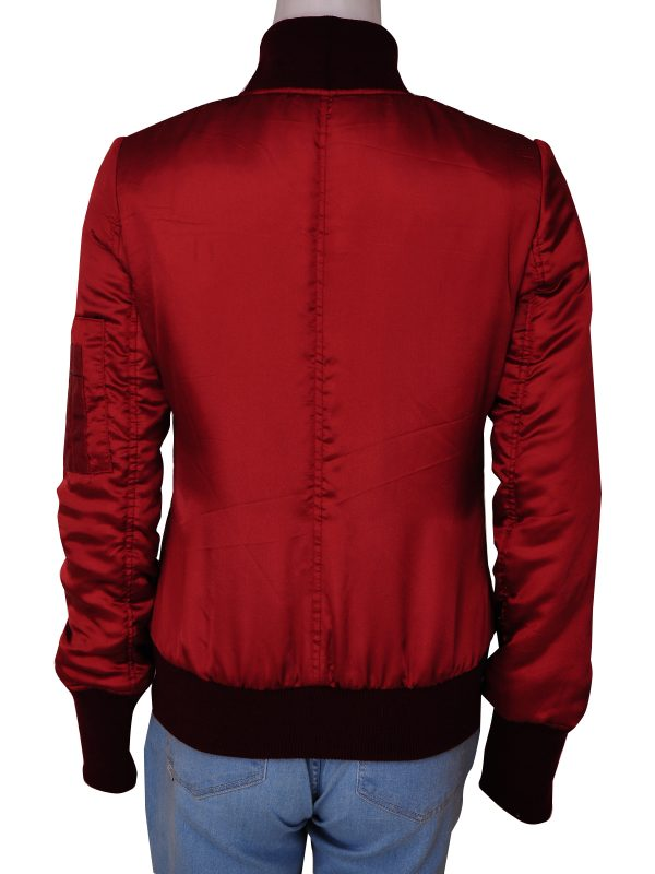 mauvetree red satin women jacket, mauvetree red bomber jacket for women,