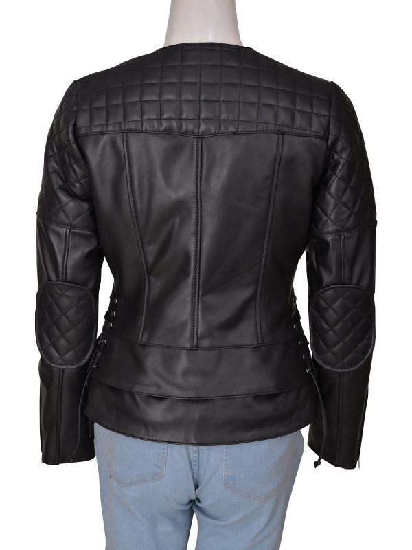 mauvetree women quilted biker leather jacket, mauvetree women black motorcycle leather jacket,