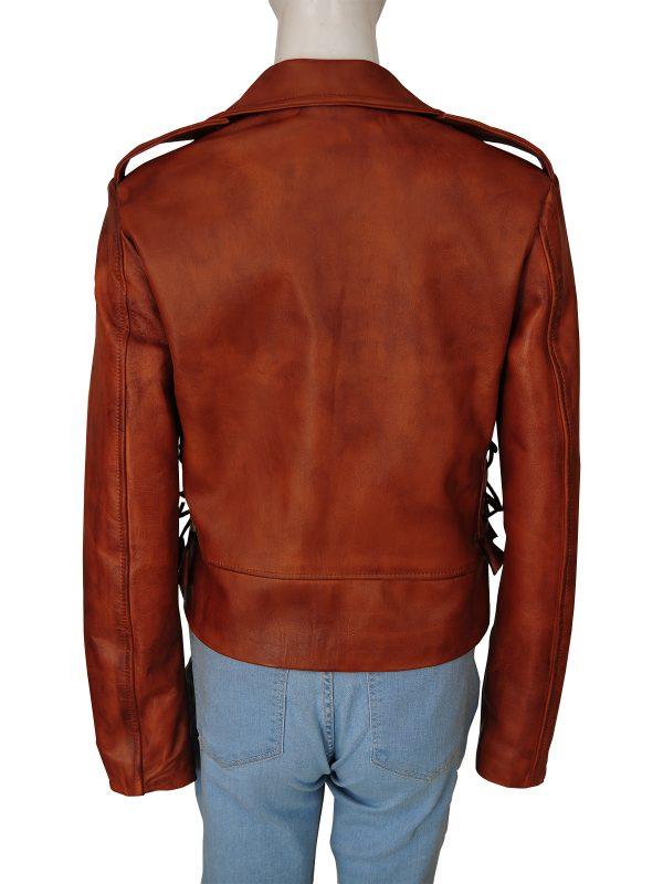 mauvetree women biker leather jacket, mauvetree women brown moto leather jacket,
