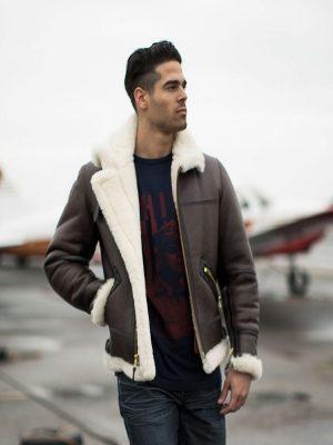 men bomber shearling jacket