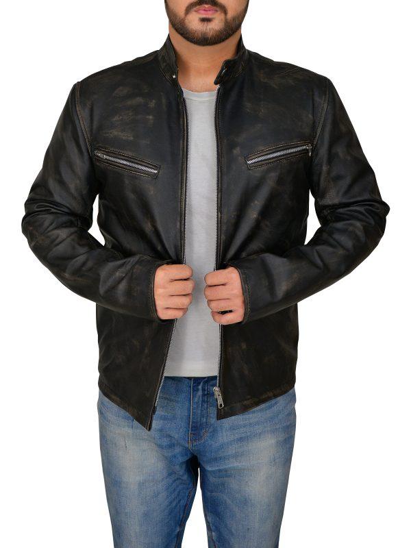 iconic cafe racer leather jacket for men, men trendy cafe racer leather jacket,