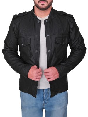 trendy black leather jacket for men, men's trending black leather jacket,