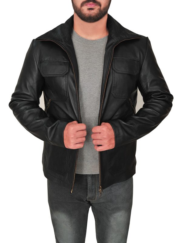 men leather jacket in black, black color leather jacket for men,
