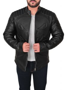 trendy black skull leather jacket for men, men black skull face leather jacket,