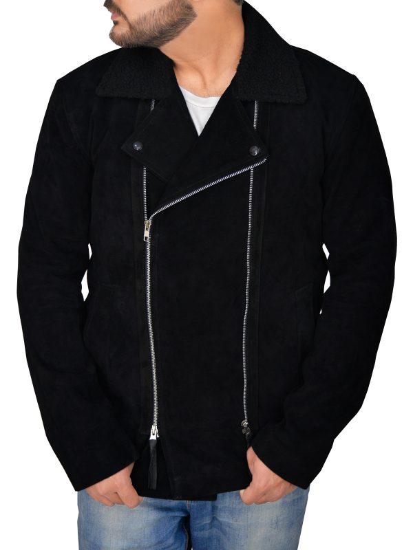 fashionable black suede leather jacket, stylish men black suede leather jacket,