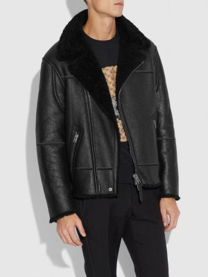 men black sheepskin leather jacket