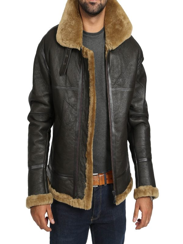 trending men brown shearling jacket