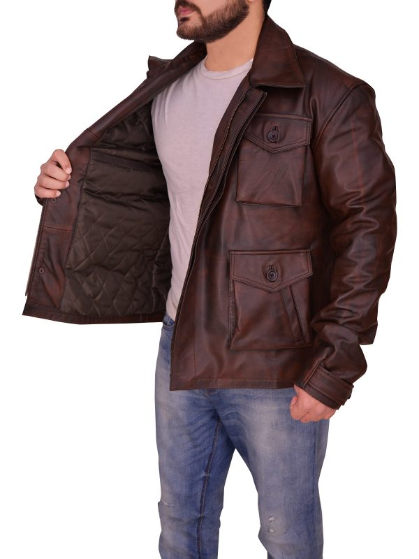 old school brown leather jacket, retro brown men leather jacket,