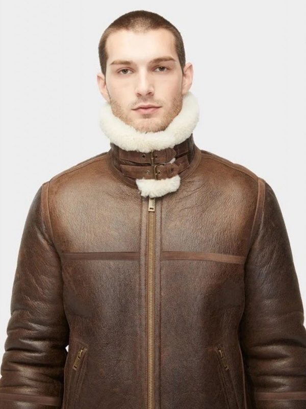 trending men aviator shearling jacket
