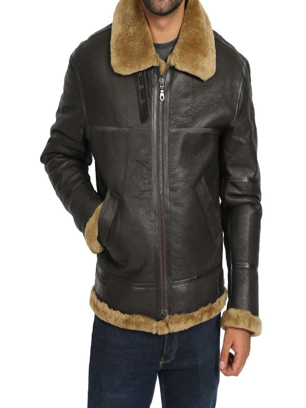 men dark brown shearling jacket