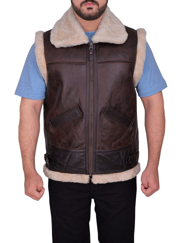 fashionable shearling leather vest, stylish brown shearling vest,