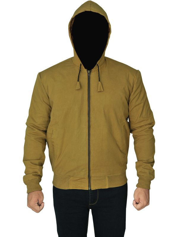 trendy men brown hoodie jacket, sleek brown men hoodie jacket,