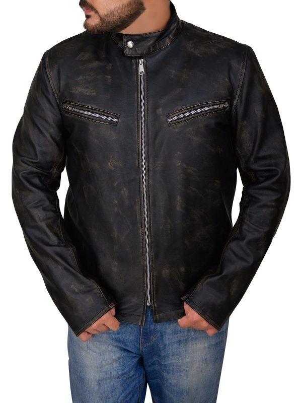 slim fit black cafe racer jacket, black cafe racer leather jacket,