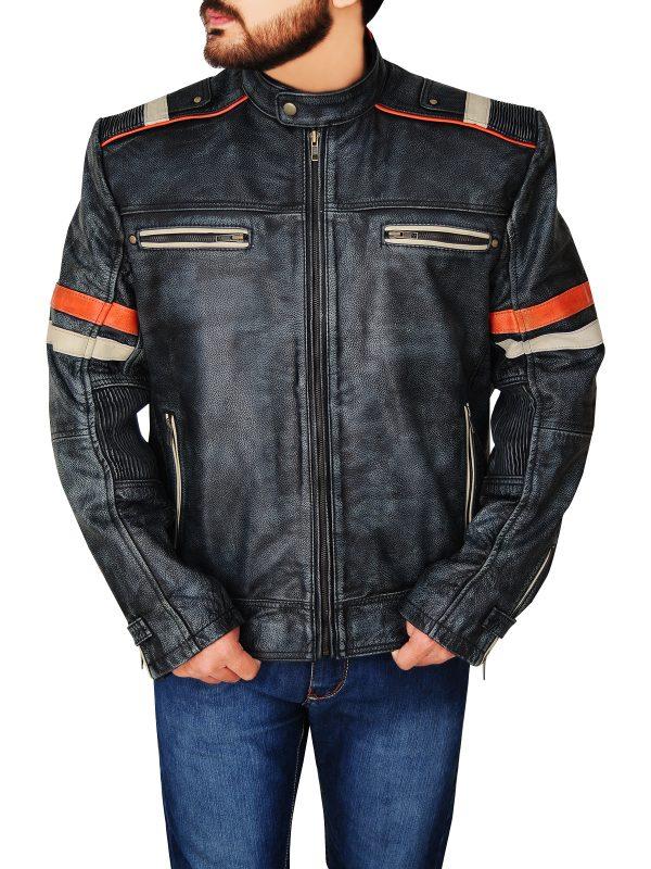 fashionable retro cafe racer leather jacket, cafe racer distressed leather jacket,