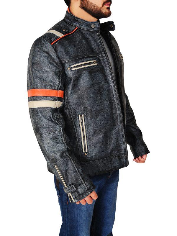 cafe racer retro leather jacket, men retro cafe racer leather jacket,