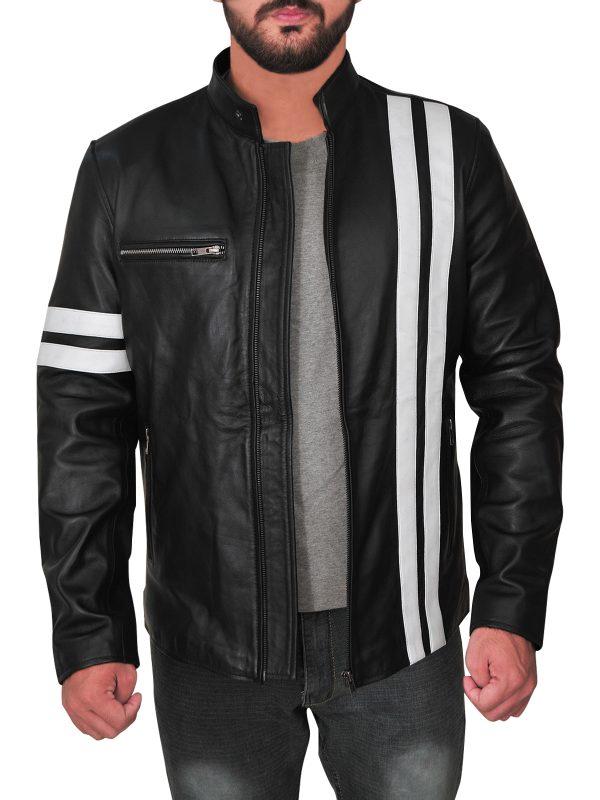 game john tanner black driver jacket, game driver leather jacket,