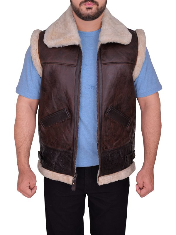 men brown b3 bomber vest, fur leather vest for men,