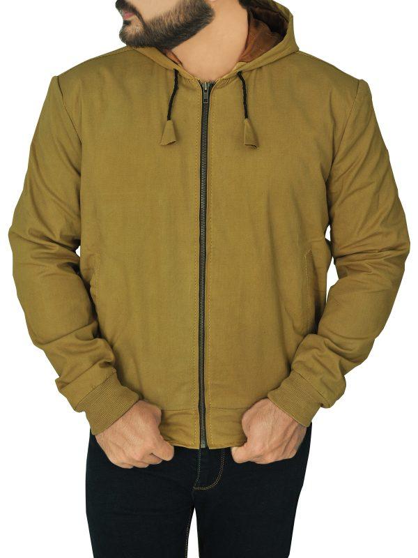 body fitted men hoodie jacket, fashionable brown men hoodie jacket,