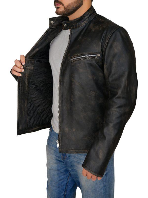 stylish cafe racer leather jacket for men, street style cafe racer jacket for guys,