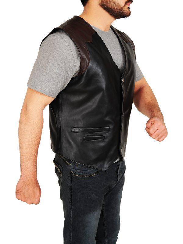 fashionable men cowboy leather vest, trendy cowboy leather vest,