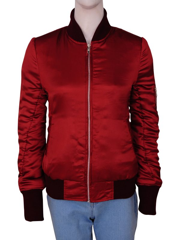 women red bomber jacket, chic women red jacket,