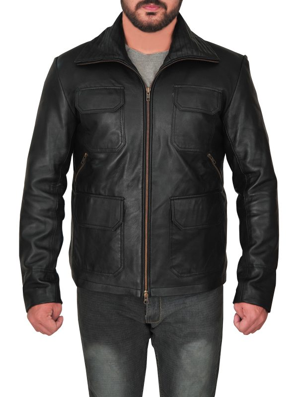 stylish men black leather jacket, street style men black leather jacket,