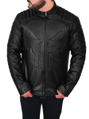 men black punisher skull leather jacket, punisher skull black leather jacket for men,