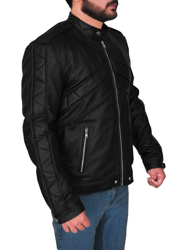 men slim fit black leather jacket. men body fitted black leather jacket,