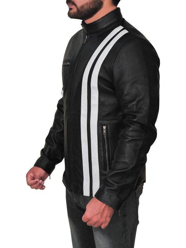 stylish men stripes leather jacket, fashionable men leather jacket with stripes,