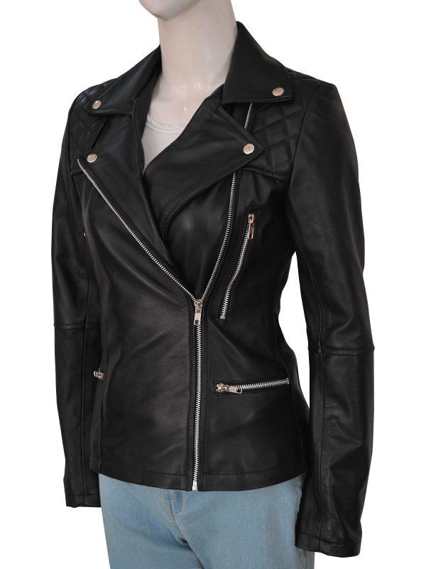 stylish black motorcycle jacket for women, fashionable women black biker leather jacket,