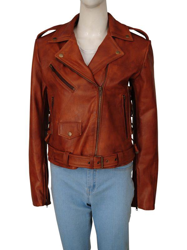 women brown moto leather jacket, fashionable women brown biker leather jacket,