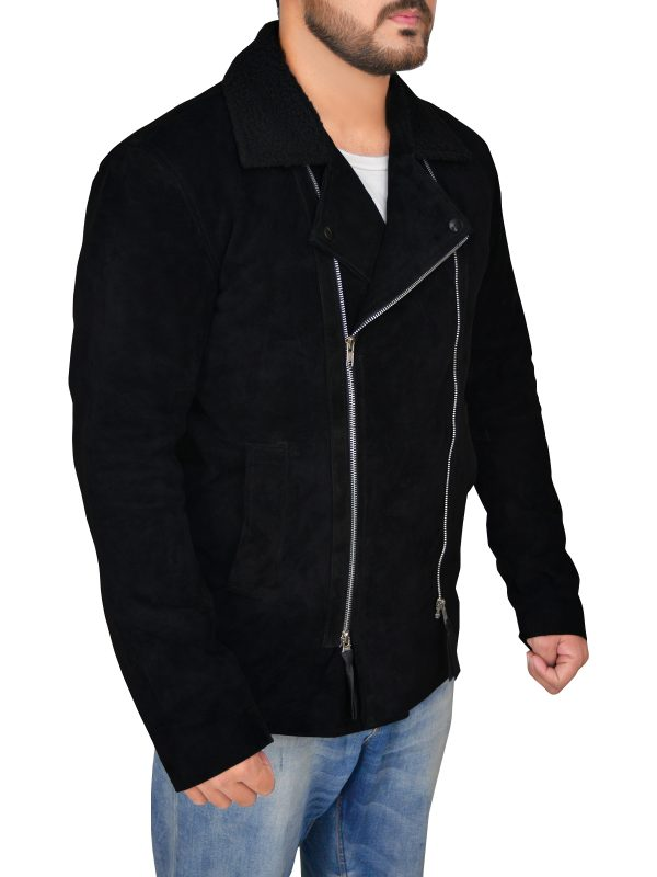black biker suede leather jacket, black motorcycle suede leather jacket,