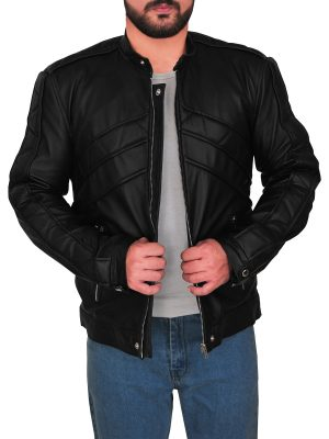 street style men black leather jacket, men rugged black leather jacket,