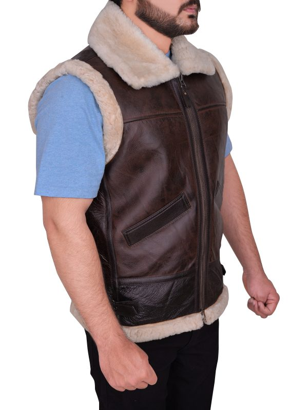 trending brown shearling leather vest, street style brown shearling vest,