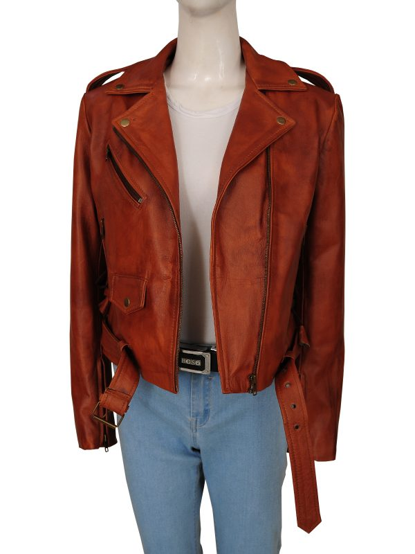 trending women brown biker leather jacket, trendy women brown motorcycle leather jacket,